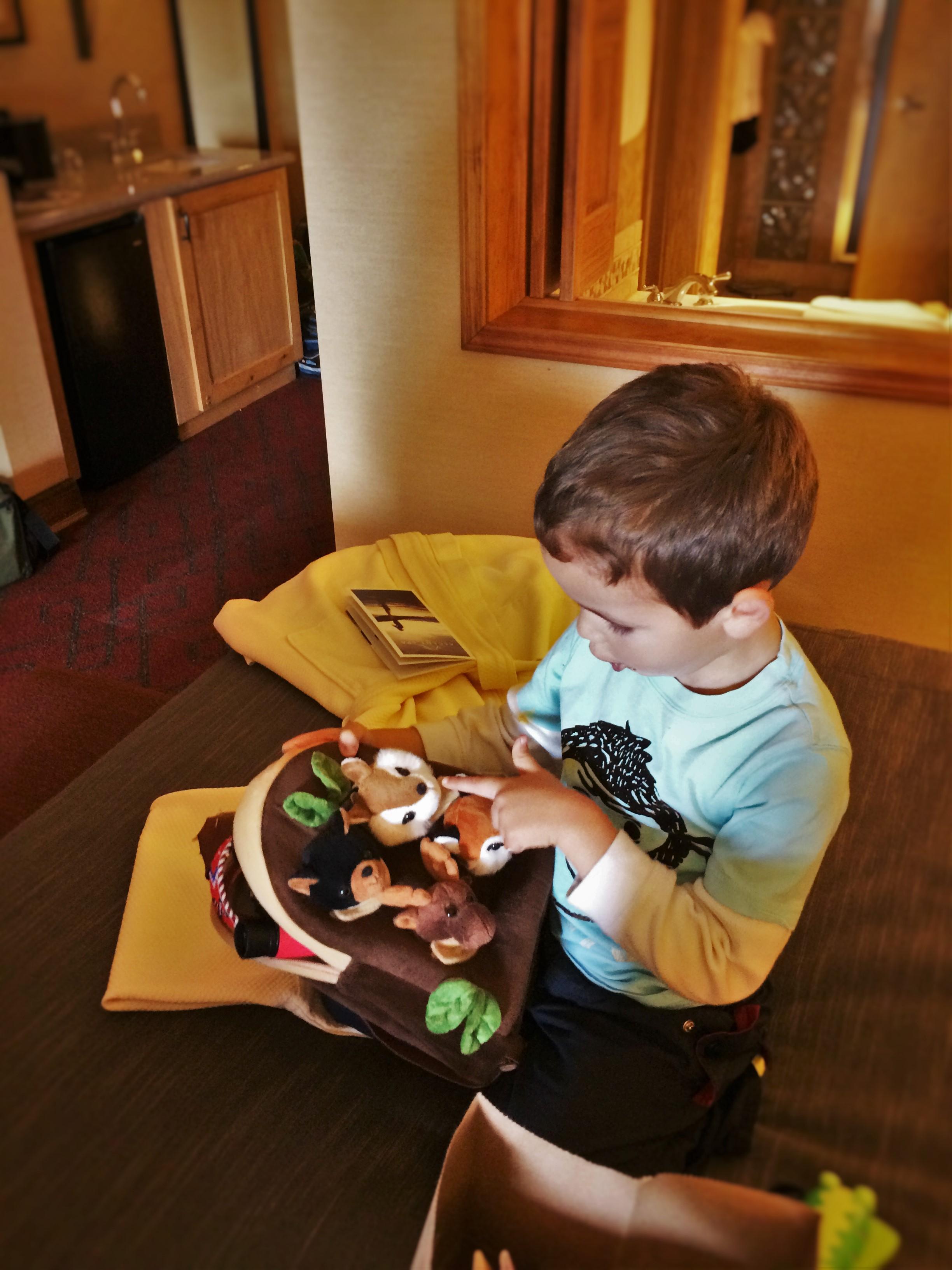 LittleMan playing with toys at Tenaya Lodge Yosemite 1