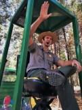 Park Ranger leading tram tour of Yosemite Valley Floor in Yosemite National Park 1