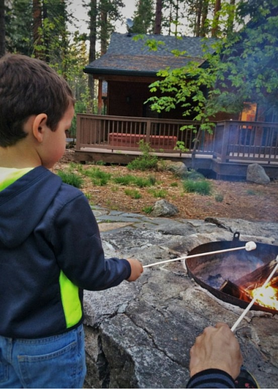 Roasting marshmallows at Evergreen Lodge at Yosemite National Park 2traveldads.com