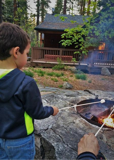 Roasting marshmallows at Evergreen Lodge at Yosemite National Park 2traveldads.com