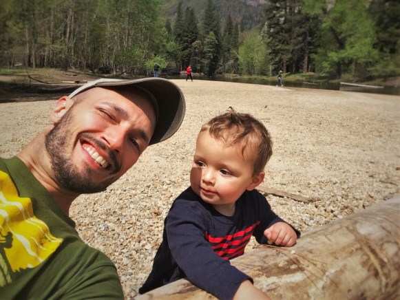 Rob Taylor and TinyMan at Cathedral Picnic Area in Yosemite National Park 1