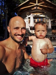 Rob Taylor and TinyMan in swimming pool at Evergreen Lodge at Yosemite National Park 1