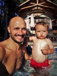 Rob Taylor and TinyMan in swimming pool at Evergreen Lodge at Yosemite National Park 1
