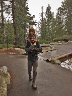 Rob Taylor giving shoulder ride in Sequoia National Park in snow 1