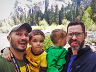Taylor Family and Merced River on tram tour of Yosemite Valley Floor in Yosemite National Park 1