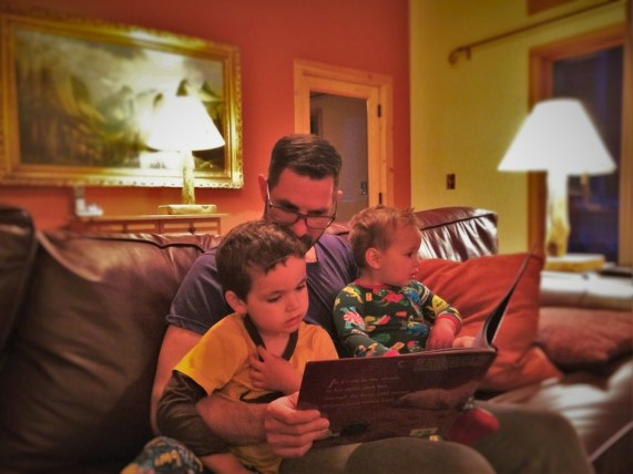 Taylor Family reading stories at Evergreen Lodge at Yosemite National Park 1