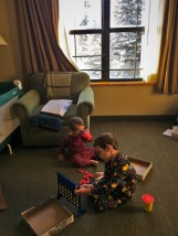 Taylor Kids playing in room at Wuksachi Lodge in Sequoia National Park 2