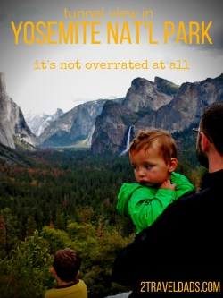 Tunnel View in Yosemite National Park really is incredible. When you arrive in Yosemite, you've no doubt had a long day, so this is the perfect spot to relax, be wowed and plan our your sights! 2traveldads.com