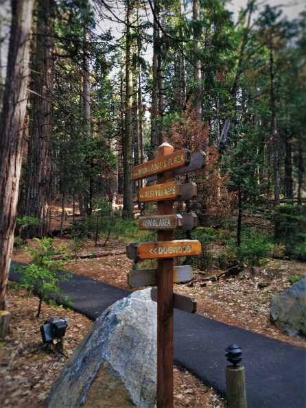 Walking path sign at Evergreen Lodge at Yosemite National Park 1