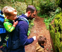 Chris Taylor and Kids with moss in Redwood National Park California 2traveldads.com