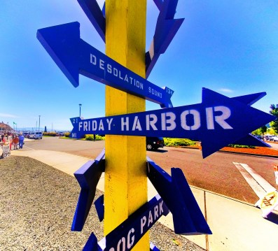 Directional Sign at Cap Sante Marina Anacortes