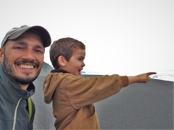 Rob Taylor and TinyMan on Beach at Redwood National Park Visitors Center