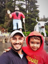 Rob Taylor and LittleMan with Paul Bunyan