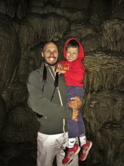 Rob Taylor and LittleMan at Oregon Caves National Monument in cavern