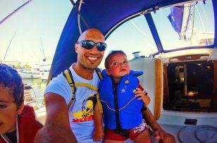 Rob Taylor and TinyMan boating in Fidalgo Bay Anacortes