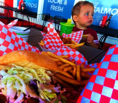 TinyMan and Fish Sandwich at Bobs Chowder Anacortes 1