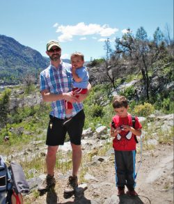 Chris Taylor and kids hiking at Hetch Hetchy Yosemite National Park 1