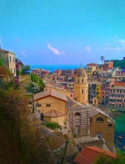 Church bell tower Vernazza Cinque Terre Italy 3e