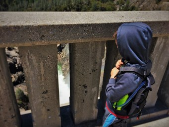 LittleMan watching dam spillway at Hetch Hetchy Yosemite National Park 1