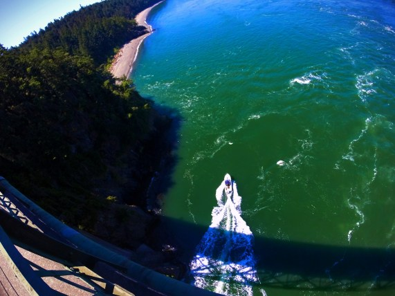 Boat under View of Deception Pass Bridge Deception Pass State Park Whidbey Island 3