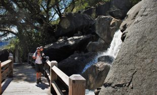 Rob Taylor and LittleMan at Wapama Falls at Hetch Hetchy Yosemite National Park 2