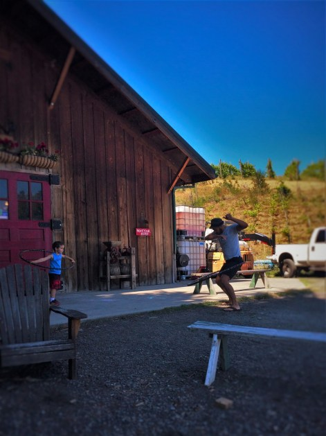 Rob Taylor hula hooping at Family Friendly wine tasting at AniChe Cellars Underwood Columbia River Gorge 2