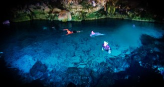 Crystal Blue Water Inside Mouth of Cenotes Dos Ojos Playa del Carmen Mexico 2