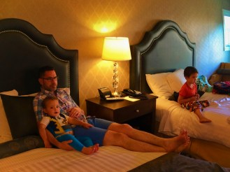Taylor Family relaxing in Majestic Inn Anacortes 1e