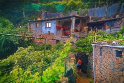 Walking through vineyard homes in Cinque Terre 1e