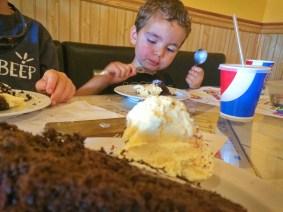 LittleMan having dessert at Roslyn Roadhouse 1
