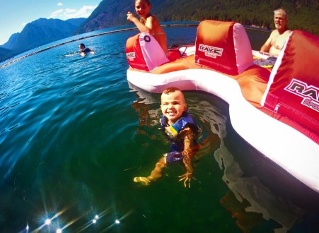 LittleMan swimming at Lake Cushman