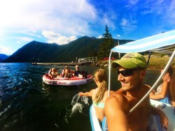 Rob Taylor and Family playing on Lake Cushman