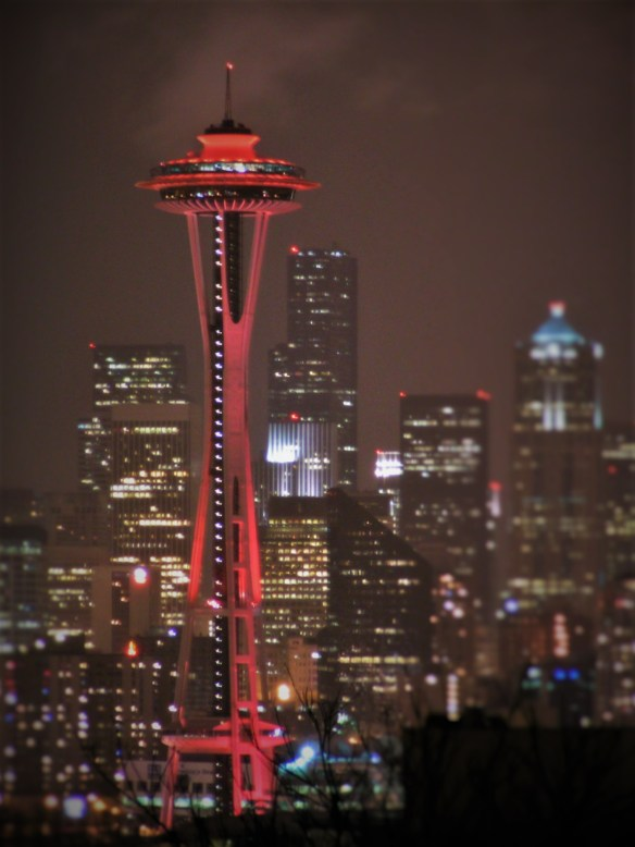 Space Needle lit up Red from Kerry Park Seattle