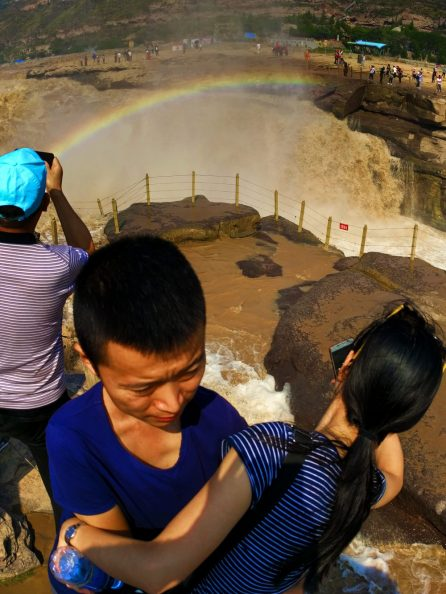 Couple at Hukou Falls with rainbow Shaanxi 1