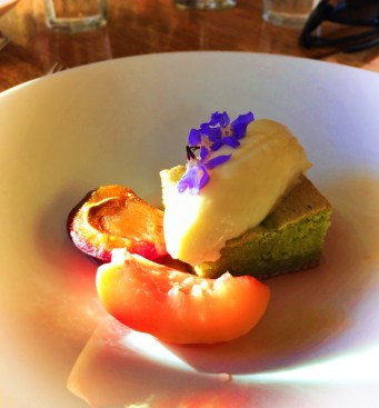 Matcha olive oil cake with plums Pretty Fork Destination Dining Inn at Ships Bay Orcas Island 1