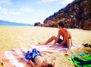 Chris Taylor and LittleMan on beach in Cabo San Lucas