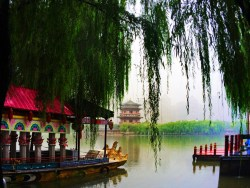 Ladies Hall pagoda and reflecting pond at Tang Paradise Xian Imperial Garden 1