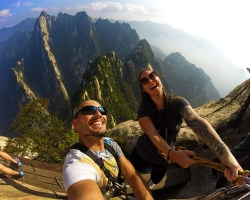 Rob Taylor and Sarah CoffeeWithASliceofLife on Death Planks hike Huashan National Park 3