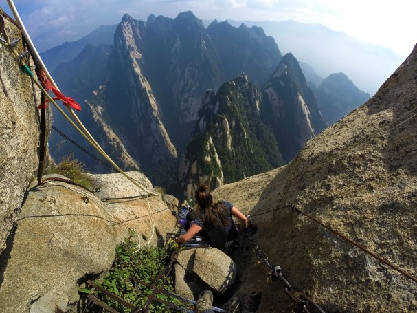 Descent to the death planks hike Huashan National Park 1
