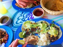 Mexican food buffet on snorkeling cruise Cabo San Lucas