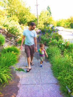 Chris Taylor and LittleMan walking on Capitol Hill 1