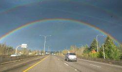 Double rainbow over I5 Portland 1