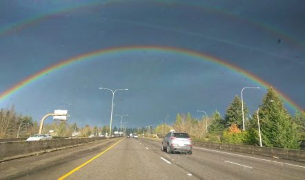 Double rainbow over I5 Portland 1