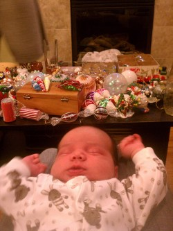 LIttleMan decorating a Christmas tree for the first time 2011