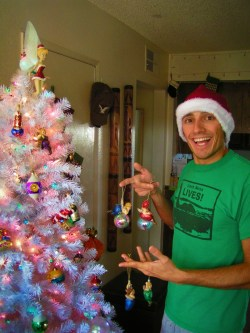 Rob Taylor and fake White Christmas tree 2007