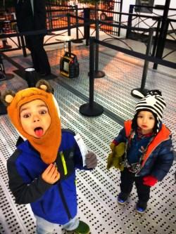 Taylor kids at Skyview Atlanta ferris wheel at night 1