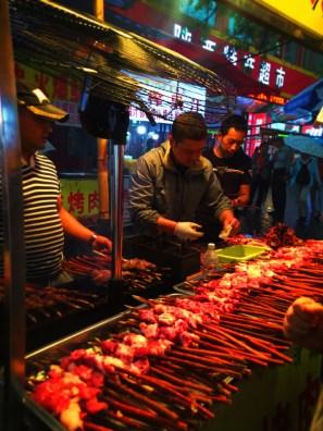 Meat kabobs in Xian Muslim Quarter Street Market 1