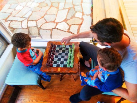 Playing chess at Domaine Madeleine Port Angeles 2