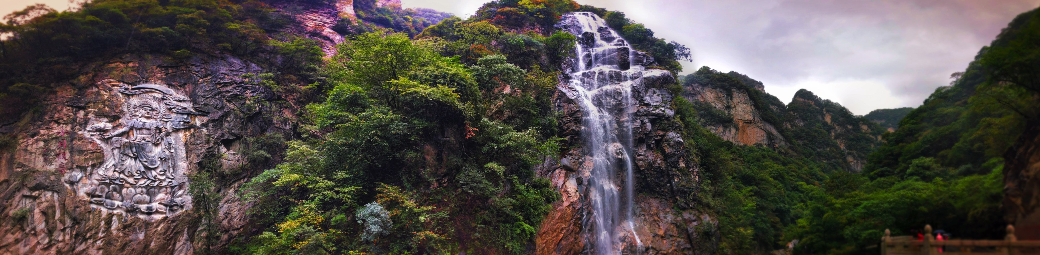 Waterfall at Taibai Mountain National Park Panoramic 1