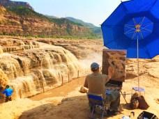 Artist Painting at Hukou Falls Shaanxi Province 2
